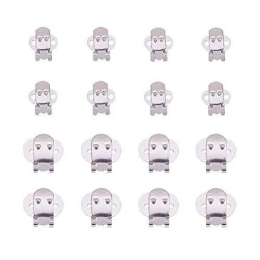 PH PandaHall 約50個/箱 シューズクリップ ステンレス シューズ 金具 2サイズ ワンタッチクリップ メタルバックル 靴飾りクリップ ストール・サンダル・バッグ・帽子・手袋など DIY装飾 アクセサリーパーツ