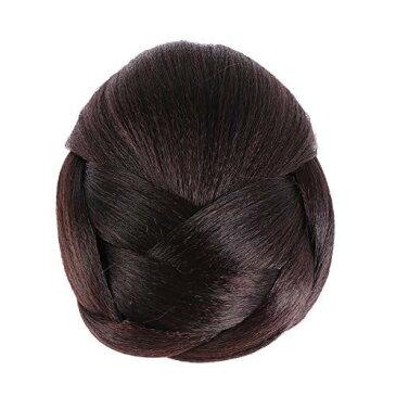 Frcolor お団子ウィッグ シニヨン カップ シニヨンネット レディース ポイントウィッグ つけ毛 髪飾り 和装 編み込み まとめ髪 (ダークブラウン)