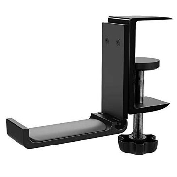 ATiC ヘッドホンスタンド アルミ製 グリップ式ヘッドフォンホルダー ヘッドホンハンガー 折り畳み可 収納用 取り付け簡単 固定幅:5.2センチ/2.05インチ Sony、Beats、ロジクール、Gaming Headphonesなど多様式ヘッドホンに対応 Black 単方向式ヘッドホンスタンド