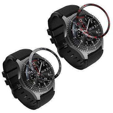 ATiC Samsung Gear S3/Galaxy Watch 46mm ベゼルリング Galaxy Watch ベゼルカバー 保護ケース スタイルリング 高級 ステンレス製 耐衝撃 超簿 粘着式 取付簡単 スマートウォッチ飾り 2pack Black(白)+Black(赤)