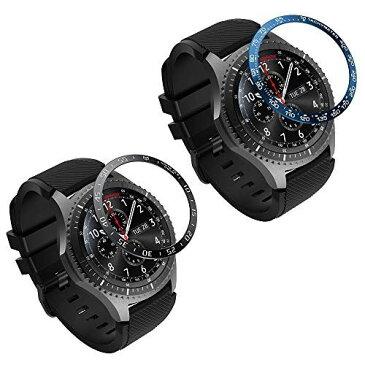 ATiC Samsung Gear S3/Galaxy Watch 46mm ベゼルリング Galaxy Watch ベゼルカバー 保護ケース スタイルリング 高級 ステンレス製 耐衝撃 超簿 粘着式 取付簡単 スマートウォッチ飾り 2pack Black+Blue