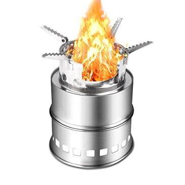 IREGRO ウッドストーブ 二次燃焼 燃料不要 五徳コンロ 焚火台 薪ストーブ コンパクト 軽量400g 携帯用小型 アウトドア キャンプ ウッドバーニングストーブ 収納パック付き