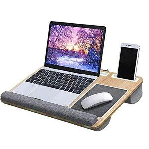 膝上テーブル ノートパソコン/タブレット用 木目調 ラップデスク ベッドテーブル クッションテーブル タブレットやスマホスタンド付き (膝上テーブル)