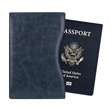 Fintie パスポートケース ホルダー RFIDスキミング防止 ラベルウォレット 安全な海外旅行用 高級PUレザー 軽量 薄型 収納カバー 収納ポケット 名刺 クレジットカード 航空券 エアチケット (ネイビー)