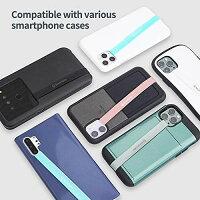 Sinjimoru伸びるスマホストラップ、iPhone,Androidスマホケース対応シリコンフィンガーホルダー、薄型ワイヤレス充電対応スマホホルダー、片手操作、落下防止スマホベルトグリップ。SinjiLoopミント