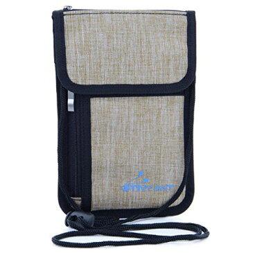 首下げ パスポートホルダー スキミング防止 パスポートケース 海外旅行 便利グッズ 防犯対策 ネックポーチ セキュリティケース 貴重品入れ iPhone 8 Plus(5.5 inch)対応 防水加工 ナイロン モデル1-カーキ