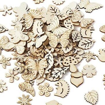 約300個入り 原木色 木製タグ 穴なし ウッドカボション 蝶・花・葉・リスなど 塗装なし 絵画可 子供の芸術 木片 天然木 木製カード 手作り素材 手芸材料 DIY ハンドメイド クラフト用品 装飾 飾り