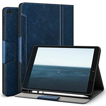 Antbox iPad 10.2 ケース iPad 第7世代/第8世代 ケース (2019/2020) 高級ソフトPUレザー製 ひび割れ防止 耐衝撃 アップルペンシル収納可 オートスリープ&スタンド機能付き 全面保護 iPad第7/8世代 (ブルー)