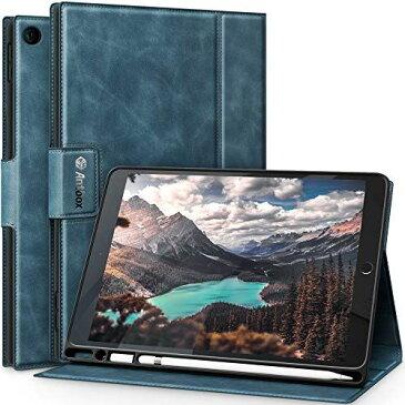 Antbox iPad 第7世代/第8世代 ケース iPad 10.2 ケース 2020/2019 高級感ソフトPUレザー製 ひび割れ防止 iPad 10.2 インチ 保護ケースカバー耐衝撃 アップルペンシル収納可 オートスリープ&スタンド機能付き 全面保護 iPad 10.2 2020/2019兼用 (ダークブルー)