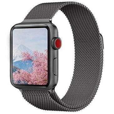 MORISHIKA コンパチブル apple watch バンド 42mm 44mm アップルウォッチバンド コンパチブルアップルウォッチ4 ベルト ミラネーゼループ ステンレス留め金製 長度調節でき コンパチブルapple watch series4/3/2/1に対応(42mm,44mm,スペースグレー)