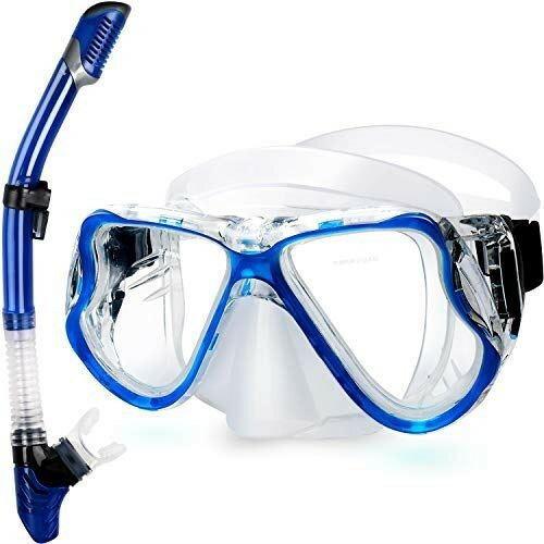 Zenoplige シュノーケルセット シュノーケリング マスク 100%ドライ スノーケル 2点 セット 曇り止め クリアな視野 強化ガラス 耐衝撃 シリコン 快適 子供 大人 男女兼用 初心者でも適用 夏 海 ブルー