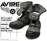 [AVIREX] アヴィレックス(アビレックス) AV-3400 SCORPION-HI Black ブラック メンズ&レディース 本革 スニーカーブーツ