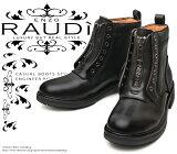 [RAUDi]ラウディー71218メンズBlackブラック本革センタージップブーツ