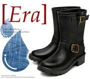 【特価商品】Eraイーラ5611Blackブラックレディースレインブーツレインシューズエンジニアブーツショートブーツ