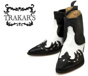 [TRAKAR'S]トラッカーズ14304Black-Liz×Whiteブラック×ホワイトメンズレディース本革ウエスタンブーツショートブーツ