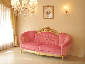 輸入家具 オーダー家具 プリンセス家具 ヴィクトリア マンションタイプ 3Pソファ アンティークゴールド色 ベビーピンクの張り地