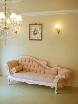輸入家具 オーダー家具 プリンセス家具 カウチソファ W210×D65 バービーピンク色 ピンクモアレの張り地