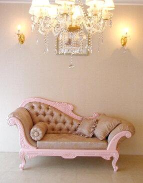 輸入家具 オーダー家具 プリンセス家具 カウチソファ W170cm 薔薇の彫刻 バービーピンク色×花かごピンク柄