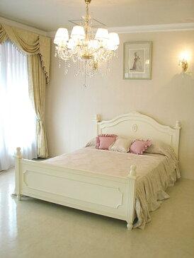 輸入家具 オーダー家具 プリンセス家具 レディメイ ダブルサイズベッド 薔薇&バレエシューズの彫刻 ホワイト色