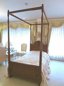 輸入家具 オーダー家具 プリンセス家具 ラ・シェル 天蓋ベッド シングルサイズ マイエル色 キャノピースクエア