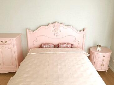 輸入家具 オーダー家具 プリンセス家具 ラ・シェル セミダブルベッド 片側引出し付き フットボード低め バービーピンク色