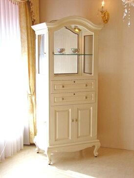 輸入家具■オーダー家具■プリンセス家具■ショーケース■鍵付き■彫刻なし■アイボリー色