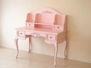 輸入家具 オーダー家具 プリンセス家具 デスク プリマヴェーラ 左右引き出し1段 薔薇の彫刻 バービーピンク色