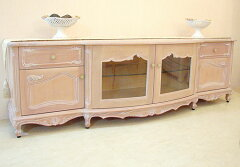 ★New!★輸入家具■オーダー家具■テレビボードW200cm■シェルの彫刻■ピンクベージュ色