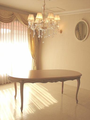輸入家具 オーダー家具 プリンセス家具 ラ・シェル ダイニングテーブル180 引出付き ピンクベージュ色 高さ:67cm