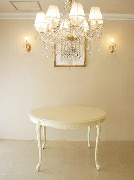 輸入家具 オーダー家具 プリンセス家具 ビバリーヒルズ ラウンドテーブル120 オードリーリボンの彫刻 ホワイト色