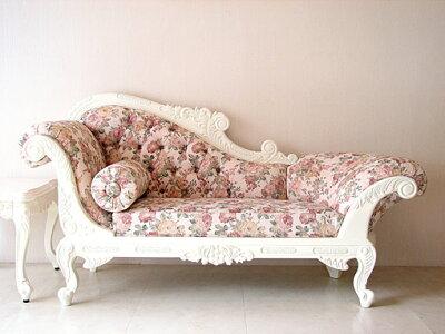 プリンセス家具■カウチソファ■W170cm■ホワイト■薔薇柄