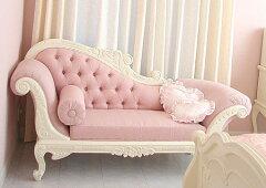 プリンセス家具■カウチソファ■W170cm■ピンクモアレ柄