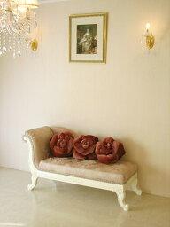 輸入家具 オーダー家具 プリンセス家具 薔薇の令嬢ソファ ホワイトの猫脚 ピンク花かご柄