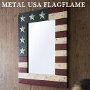 メタル USAフラッグ フレーム(L)METAL USA FLAG MIRROR-FRAME【TOSSDICE トスダイス】壁掛け アメリカ 星条旗 国旗 鏡 ポスター アンティーク 西海岸 インダストリアル