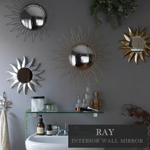 【あす楽】RAY interior wall mirror レイ インテリア ウォールミラー【ウエストビレッジ東京】鏡 アンティーク ヨーロッパ サンバースト 50's インダストリアル (z)