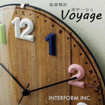 壁掛け電波時計ボヤージュ[ミックス ホワイト ブラック]CL-7975 Voyage[MX WH BK]日本製ステップムーブメント 【インターフォルムINTERFORM】