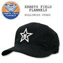 EBBETS FIELD FLANNELS(エベッツ フィールド フランネルズ) BASEBALL CAP[#8]Black HOLLYWOOD STARS キャップ/帽子/野球 別注 フリーサイズ USA綿 コットン LEATHER STRAP レザー ストラップ【RCP】