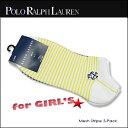 【即納】Polo Ralph Lauren(ポロ ラルフローレン)-Girls- Mesh Stripe 3-Pack Ped[G440011GPK] Girls ガールズ 薄手 ソックス 靴下 3枚セット 女性用 【smtb-KD】【RCP】