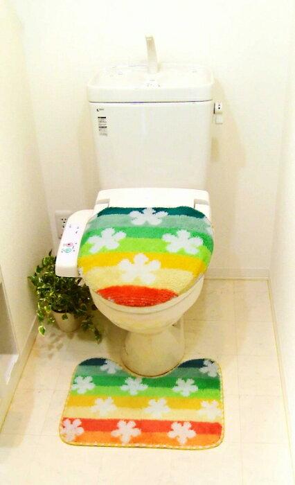 トイレ2点セット フラワーパーク【トイレフタカバー&マットSET(フタカバー:洗浄暖房タイプ幅40長さ44以下)】【K-04】