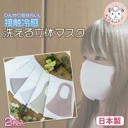 接触冷感立体マスク2枚入りフリーサイズ日本製洗濯可能立体マスク繰り返し利用可能感染症予防予防花粉ほこりインフルエンザ対策COOL夏用クールマスク冷感素材cool熱中症予防涼しいひんやり洗える