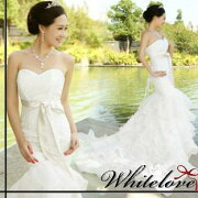マーメイド ハートカットネック ティアードスカート トレーン プリンセス スレンダー エンパイヤ ウエディングドレス イブニング ホワイト