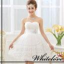 ドレス&衣装カバーのセット 【送料無料】 カラードレス プリンセス Aライン ミニドレス ベアトップ ウエディングドレス 花嫁 二次会 衣装 カラー:ホワイト ベージュ 白 サイズ:S/M/L/XL