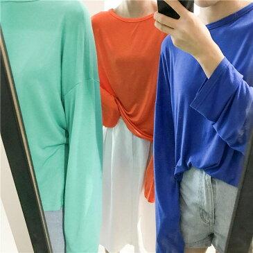 レディース トップス Tシャツ 長袖 無地 カットソー 綿 シンプル 袖長い ゆったり おしゃれ カジュアル 大人可愛い フェミニン デート お出かけ 普段着 ブラック ホワイト イエロー オレンジ ピンク ブルー パープル グリーン 送料無料