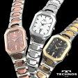 テクノス スクエアタングステン 【暮らしの幸便 カタログ掲載 74200】 テクノス TECHNOS watch 腕時計 スクエアタングステン うでどけい コンビ シルバー ピンク ドレスウォッチ 女性 シルバー ウォッチ ステンレス スイス T9353