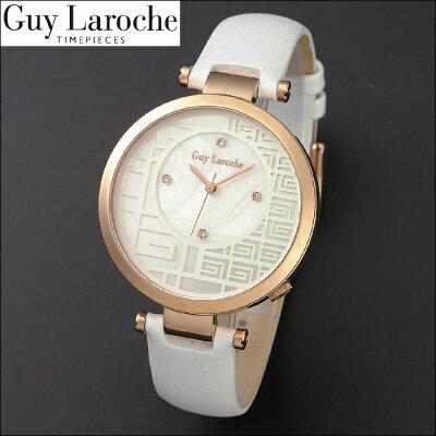 送料無料ギ・ラロッシュGuyLaroche(ギラロッシュ)クオーツレディース腕時計L5005-03L5005-04女性用電池式レザー革ベルトホワイトピンクゴールドゴールドうでどけいウォッチ国内正規品女性ギフトプレゼントスワロフスキー