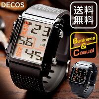 【送料無料】デジタルウォッチ腕時計メンズレディースDECOS男性用紳士用うでどけいおしゃれシンプル大き目文字スポーツファッションメンズ腕時計腕時計メンズ黒ブラック見やすい軽量ブランド人気ランキングビジネスカジュアル多機能アラームLED