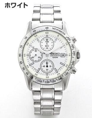 腕時計メンズSEIKOセイコークロノグラフ海外モデルメンズウォッチステンレスベルトアナログ防水時計うでとけいブランドブラックホワイト白黒父の日ギフトプレゼントP12Sep14