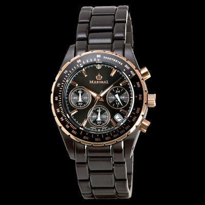 MARSHALマーシャル10気圧防水ブラックIPウォッチメンズ腕時計