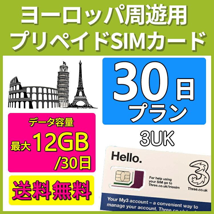 ヨーロッパ SIM 周遊用プリペイド SIMカード 3UK 30日間 データ容量最大12GB 音声通話 SMS付き
