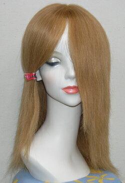レミーヘアー金髪ウィッグ25cm。人毛100%総手作りウィッグです人毛ですから色々なヘアーアレンジが楽しめます。色々チャレンジして、楽しんで下さい! 金髪ウィッグ、フルウィッグセンターパート